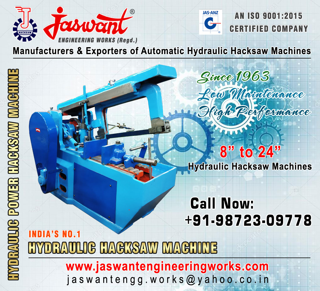 Manufacturers of Hydraulic Power Hacksaw Machine suppliers exporters in India Punjab Ludhiana